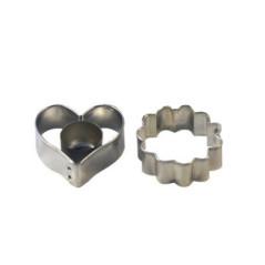 Emporte-pièces Sablés fourrés 3 pièces (cœur et rond ondulé)